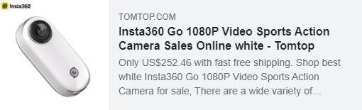 Insta360 Go 1080P Video Panoramic Sports Action Camera Coupon: HYDGVCA Price: $ 199.99 Delivered by Duty Free Shipping