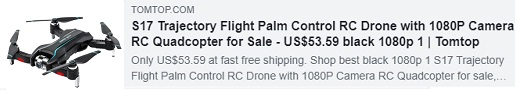 S17 Trajectory Flight Palm Control RC Drone with 1080P Camera RC Quadcopter Coupon: HYSTFY Price: $52.29