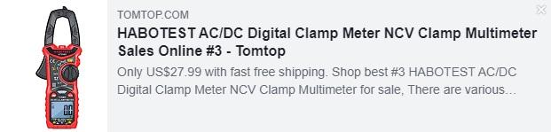 HABOTEST AC/DC Digital Clamp Meter NCV Clamp Multimeter    Price: $27.99